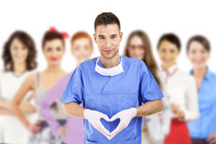 Close up of doctor's hands making heart shape Royalty Free Stock Photo