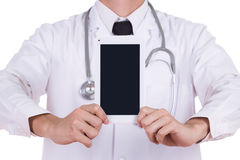 Close-up doctor showing tablet computer blank screen Royalty Free Stock Photos