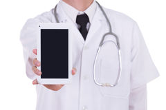 Close-up doctor showing tablet computer blank screen Royalty Free Stock Images