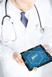 Close up of doctor with stethoscope and tablet pc Royalty Free Stock Image