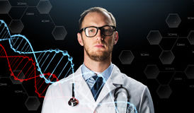 Close up of doctor in white coat with stethoscope Stock Photo