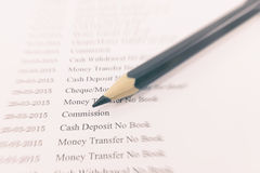 Close up document of bank statement with pencil on zoom effect. Royalty Free Stock Photo