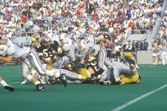 Close-up of dogpile during West Point Football game, West Point, NY Royalty Free Stock Photos
