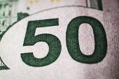 Close-up of 50 Dollar bill. Background and texture royalty free stock photo