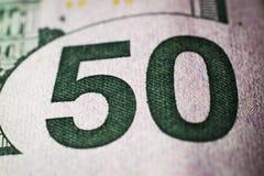 Close-up of 50 Dollar bill royalty free stock photo
