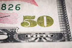 Close-up of 50 Dollar bill. Background and texture royalty free stock image