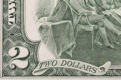 Close up of 2 dollar bill. Royalty Free Stock Photo