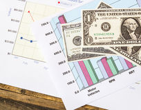 Close up dollars on financial graphs Stock Photos