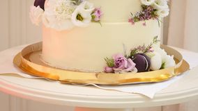A close up dolly shot of a beautifully decorated wedding cake.  stock video