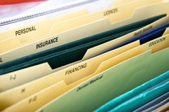 Close up of domestic personal files Royalty Free Stock Photo