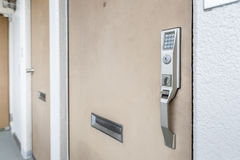 Close - up Door handle with Electronic keypad Royalty Free Stock Photo
