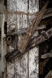 Close up-door lock old rusty stock photo