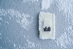 Close-up Doorbell Button cover with white snow . Close-up Doorbell Button cover with white snow Stock Image