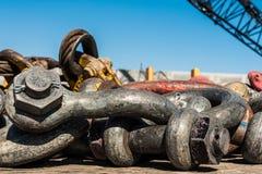Close-up dos artigos da construção pesada Fotografia de Stock Royalty Free