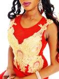 Close up dos bordados no vestido vermelho Imagem de Stock Royalty Free