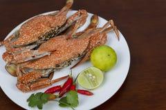 Close up dos caranguejos com molho de mergulho tailandês do marisco em uma placa, em um w imagem de stock