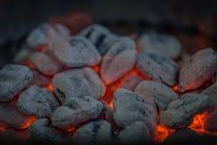 Close up dos carvões amassados quentes brancos do carvão vegetal na grade do assado imagem de stock
