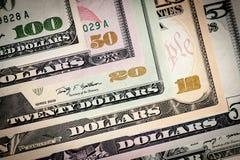 Close up dos dólares de Estados Unidos. Fotos de Stock