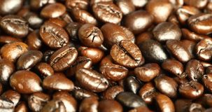 close up dos feijões de café 4k, matéria prima do alimento da cafeína das bebidas, feijão delicioso dos pratos filme