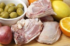 Close up dos ingredientes da galinha do citrino fotografia de stock