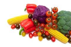 Close-up dos legumes frescos em um fundo branco Foto de Stock Royalty Free