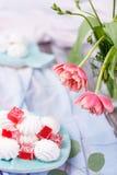 close-up dos marshmallows e do doce de fruta vermelho Fotografia de Stock Royalty Free