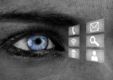 Close-up dos olhos azuis da mulher com ícones Fotos de Stock Royalty Free
