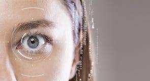 Close-up dos olhos azuis da mulher imagens de stock