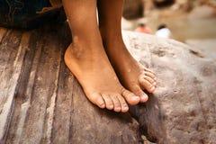 Close up dos pés desencapados Imagens de Stock Royalty Free