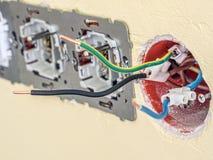 Close up dos soquetes de parede parcialmente asembled Imagens de Stock