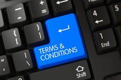 Close up dos termos e condições da chave de teclado azul 3d Fotos de Stock Royalty Free
