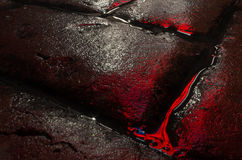 Close up dos tijolos molhados que refletem as luzes de néon imagem de stock