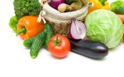 Close up dos vegetais no fundo branco Fotos de Stock Royalty Free