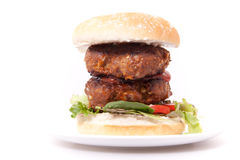 Close up double beef burger. Royalty Free Stock Photography