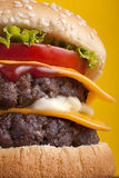 Close up of Double Cheeseburger Stock Image