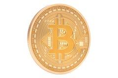 Close up dourado de Bitcoin, rendição 3D Imagens de Stock Royalty Free