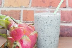 Dragon fruit smoothie on glass Royalty Free Stock Images