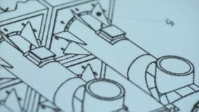 Close up of drawing, construction plan. Stock. Macro super Close-up camera on the slider along the video, we see the royalty free stock images