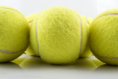 Close-up Drie tennisballen Royalty-vrije Stock Afbeelding