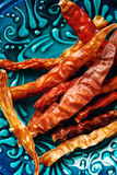 Close-up of Dried Chili Peppers Stock Photo