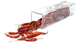 Close up of dried chilli in glass box Stock Photos