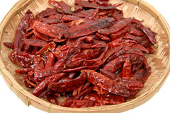 Close up of dried chillis in bamboo plate Stock Images