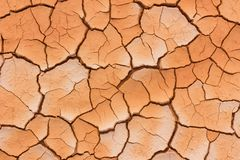 Close-up dried cracked earth soil. Close up orange dried cracked earth soil in Thailand royalty free stock image