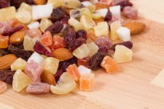 Close up of dried fruits and nuts Stock Image