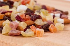 Close up of dried fruits and nuts Royalty Free Stock Photos