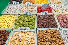 Close-up of dried fruits at a shop in Chinatown, Bangkok royalty free stock image