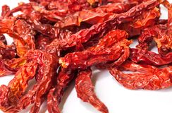 Close up of Dried red peppers . Royalty Free Stock Photography