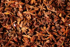 Close up of dried star anise seed at a market stock images