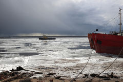 Close up of drift ice boat at at Arkhangelsk Stock Photos