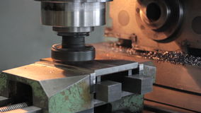 Close-up Drill is working to steel part, polishes stock footage